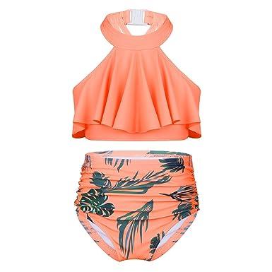 Agoky Traje De Baño Niña 2 Piezas Cuello Halter Bikini Flor ...