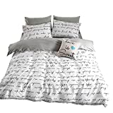 ORoa Lightweight Cotton Duvet Cover Set for Teens Adults White Grey Queen 3 Piece Reversible Letters Home Textile Bedding Set with Pillowcases, Simple Letter Print, Style 5