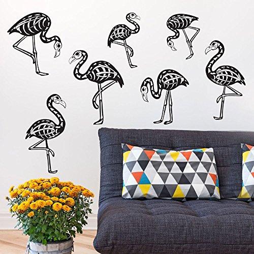 Chromantics Flamingo Skeleton Wall Decal Kit - Tropical Halloween Decal ()