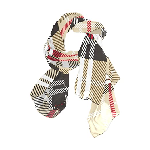 e2898a1490e U LIFE Vintage Geometric Stripe Checkered Plaid Silk Scarf Scarves ...