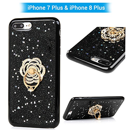 iphone 7 Plus / iPhone 8 Plus Case, YOKIRIN Glitter Cute Phone Case Girls with Stand Bling Diamond Rhinestone Bumper with Ring Kickstand Clear Thin Protective Sparkly iPhone 7 Plus Case for Girl Women