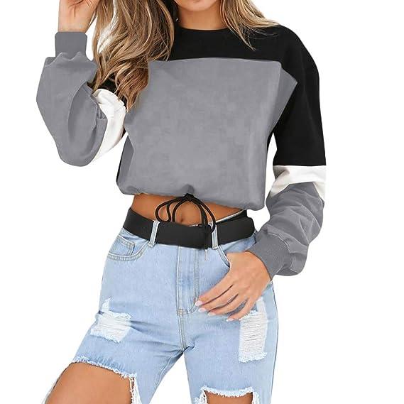 Mujer Sudadera Cremallera Pullover Blusa Manga Larga Crop Tops con Camisa Patchwork (B-Gris
