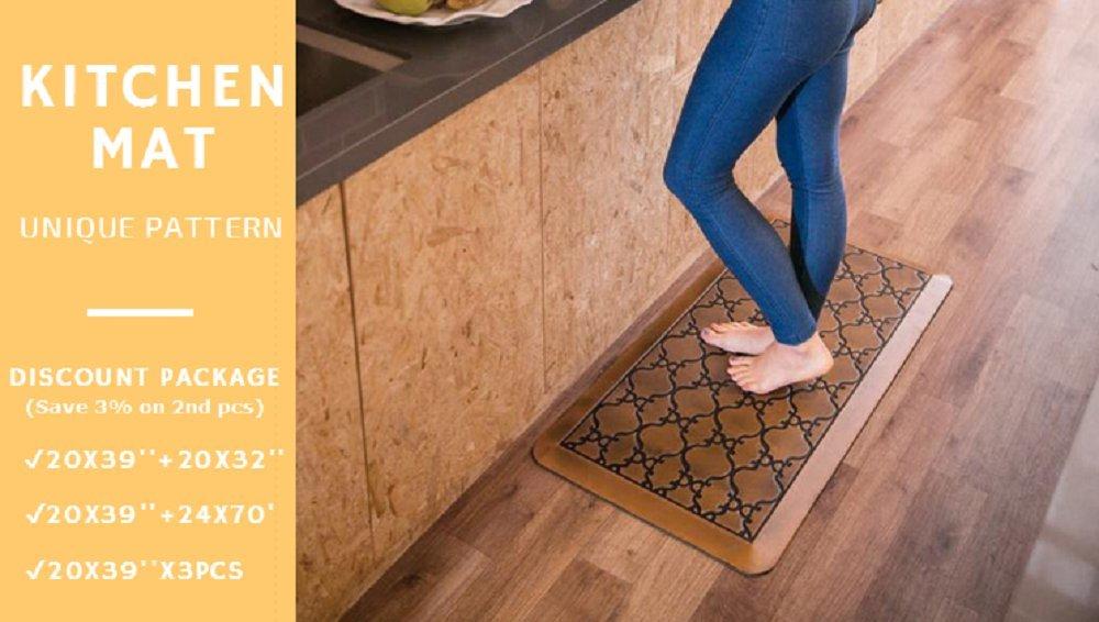Licloud Anti-fatigue Mat Non-toxic Kitchen Floor Mat Comfort Mat Desk Mat (24x70x3/4-Inch, Antique Light) by Licloud (Image #6)