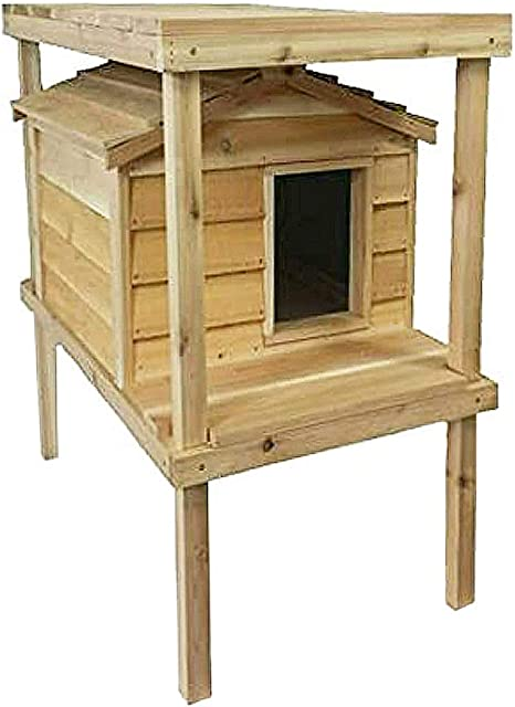 Good for Winter /& Summer CozyCatFurniture Large Waterproof Outdoor Cat House with Platform and Extended Roof Natural Cedar Wood Thermal-Ply Insulation