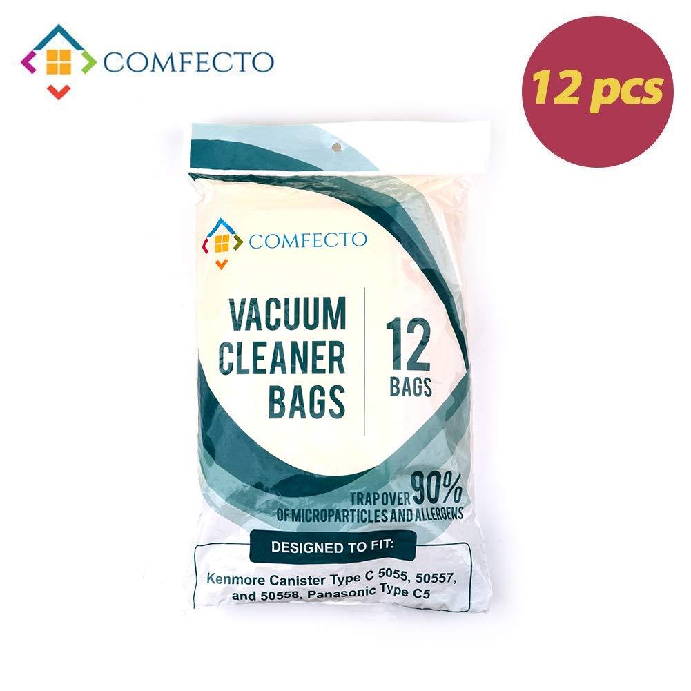 Set of 12 Anti-bacterial Hypoallergenic Premium Vacuum Bags for Kenmore Canister Type C, Panasonic Type C5, 50558 50557 5055 Vacuum Cleaner, Eco-friendly Wood Pulp Paper