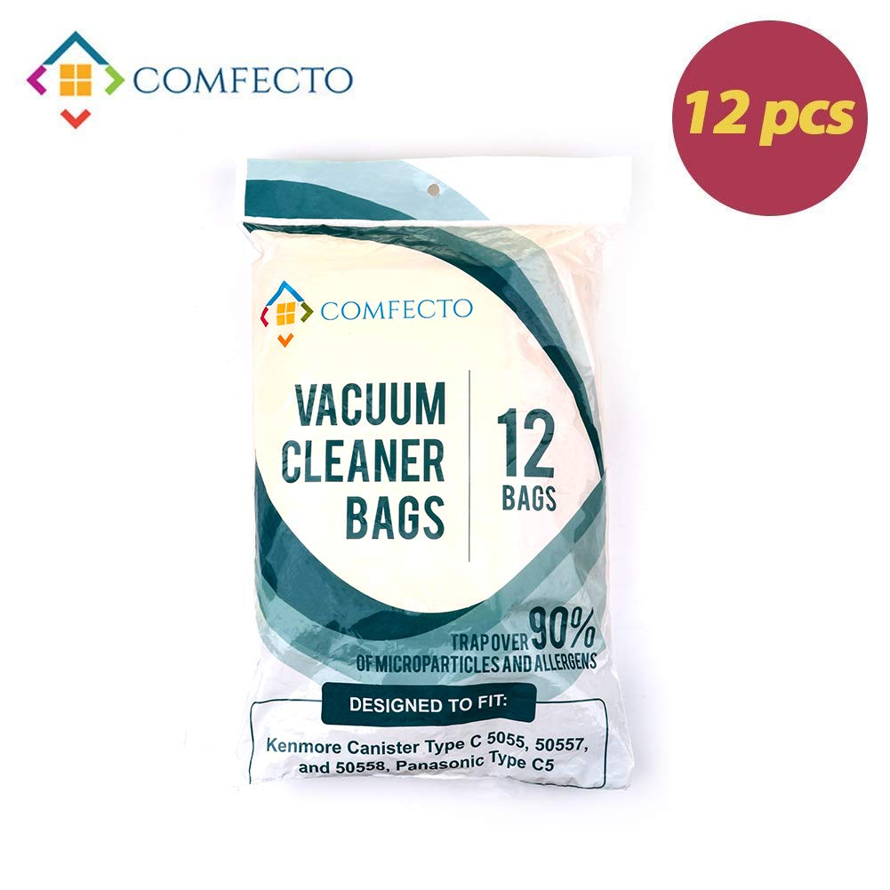 Set of 12 Hypoallergenic Premium Vacuum Bags for Kenmore Canister Type C, Panasonic Type C5, 50558 50557 5055 Vacuum Cleaner, Eco Friendly Wood Pulp Paper by Comfecto