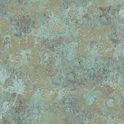 - York Wallcoverings TB4319 Charlotte Dogwood Texture Wallpaper, Aqua, Purple/Grey, Golden Tan