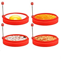 4 Pack Nonstick Egg Ring Silicone Pancake Mold Round Egg Cooking Rings Red for Stunning Breakfasts