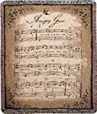 Manual Inspirational Collection Tapestry Throw, Amazing Grace Sheet Music, 50 X 60-Inch