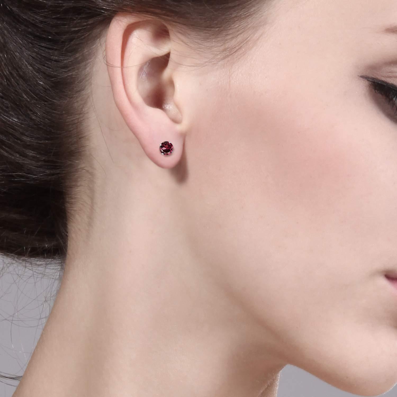 Gem Stone King 14K White Gold Red Rhodolite Garnet Stud Earrings 0.74 cttw Round 4MM
