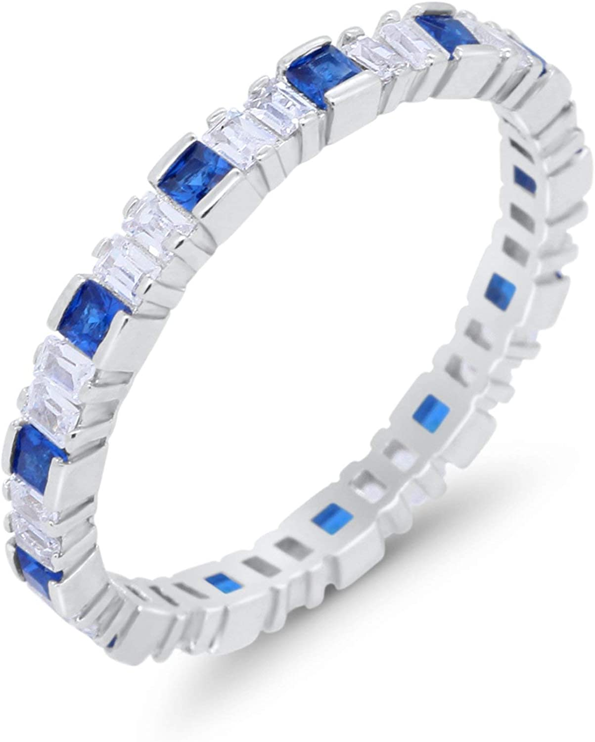 Blue Apple Co. Baguette Princess Full Eternity Stackable Wedding Band Ring Cubic Zirconia 925 Sterling Silver