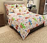 Home Candy 144 TC Cotton Double Bedsheet with 2 Pillow Covers - Kids, Multicolour
