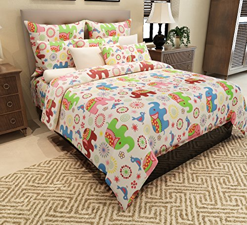 Home Candy 144 TC Colorful Elephants Kids Cotton Double Bedsheet with 2 Pillow Covers - Multicolor
