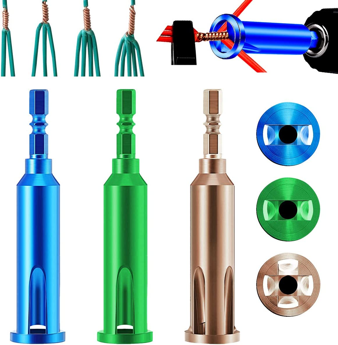 3PCS Wire Stripping Twisting Tool 3 Lines and 5 Lines Wire Stripper and Twister Universal Electrical Cable Quick Connector Hand Tool Adapter for Power Drill Drivers 3PC
