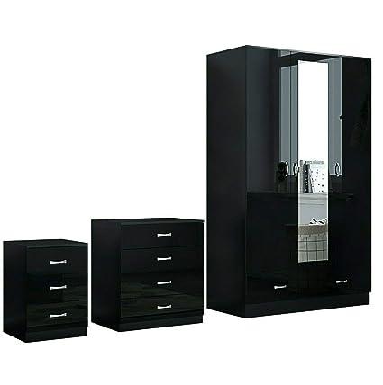 Harmin Ltd XL BLACK HIGH GLOSS BEDROOM FURNITURE- 3 DOOR MIRRORED SOFT  CLOSE WARDROBE, CHEST & BEDSIDE