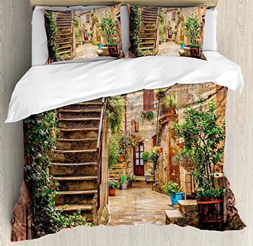 Ambesonne Tuscan Decor Duvet Cover Set, View of an Old Mediterranean Street with Stone Rock Houses in Italian City Rural Culture Print, 3 Piece Bedding Set with Pillow Shams, Queen/Full, Multi - Tuscan Rock