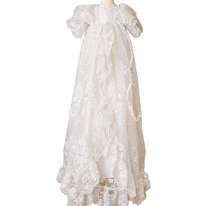 dressvip Weiß lang mit Mütze für Mädchen Babykleid