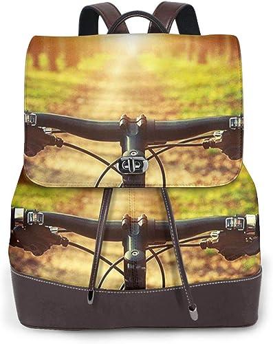 SGSKJ Mochila de Cuero Mujer Bolso Bicicleta de montaña 4 ...