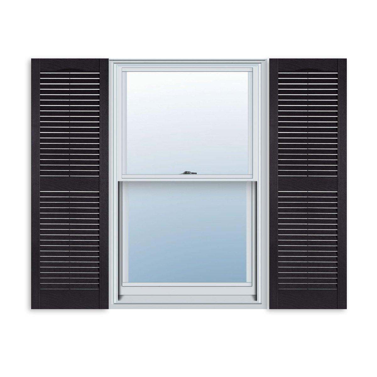 ExteriorSolutions.com Custom Exterior Vinyl Louver Window Shutters w/Installation Spikes (Pair) by ExteriorSolutions.com