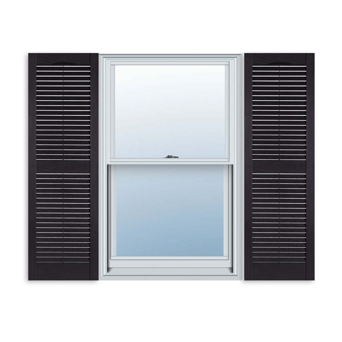 ExteriorSolutions.com Custom Exterior Vinyl Louver Window Shutters w/Installation Spikes (Pair)