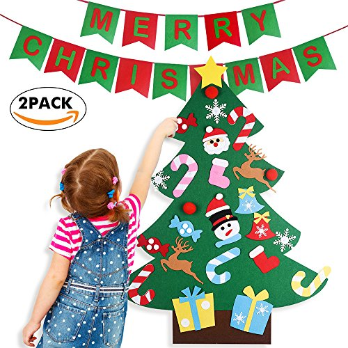 3ft DIY Felt Christmas Tree Set with 26pcs Detachable Ornaments With Banners Garland for Kids-Xmas Wall Hanging Decoration (Snowflake Felt Garland)