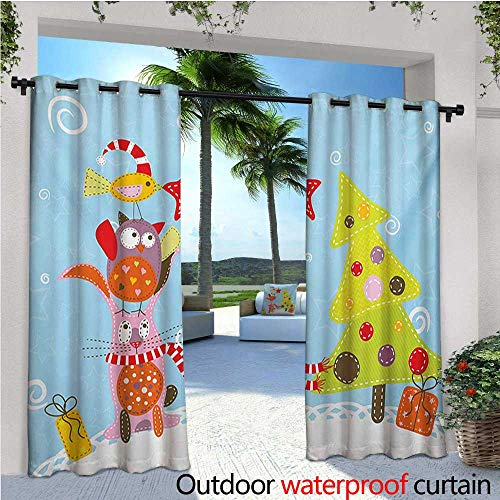 Wall Crema (homehot Christmas Patio Curtains Funny Cartoon Stylized Cat Owl and a Bird Best Friends Animals Gifts Noel Print Outdoor Curtain for Patio,Outdoor Patio Curtains W84 x L108 Green Blue)