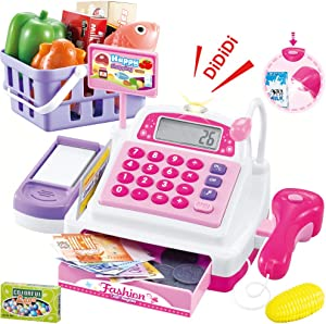 Sotodik Cash Register Pretend Play Supermarket Shop Toys with Calculator ,Working Scanner,Credit Card ,Play Food ,Money and More(Color May Random)
