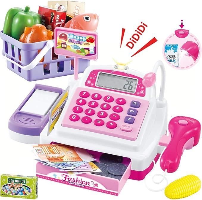 SONiKi 34PCS Caja registradora Juguetes para niñas Juegos de imaginación Supermercado Tienda Juguetes Caja Escáner Juguetes con sonidos y acciones Juegue Comida, dinero, juguetes de supermercado y más: Amazon.es: Juguetes y juegos
