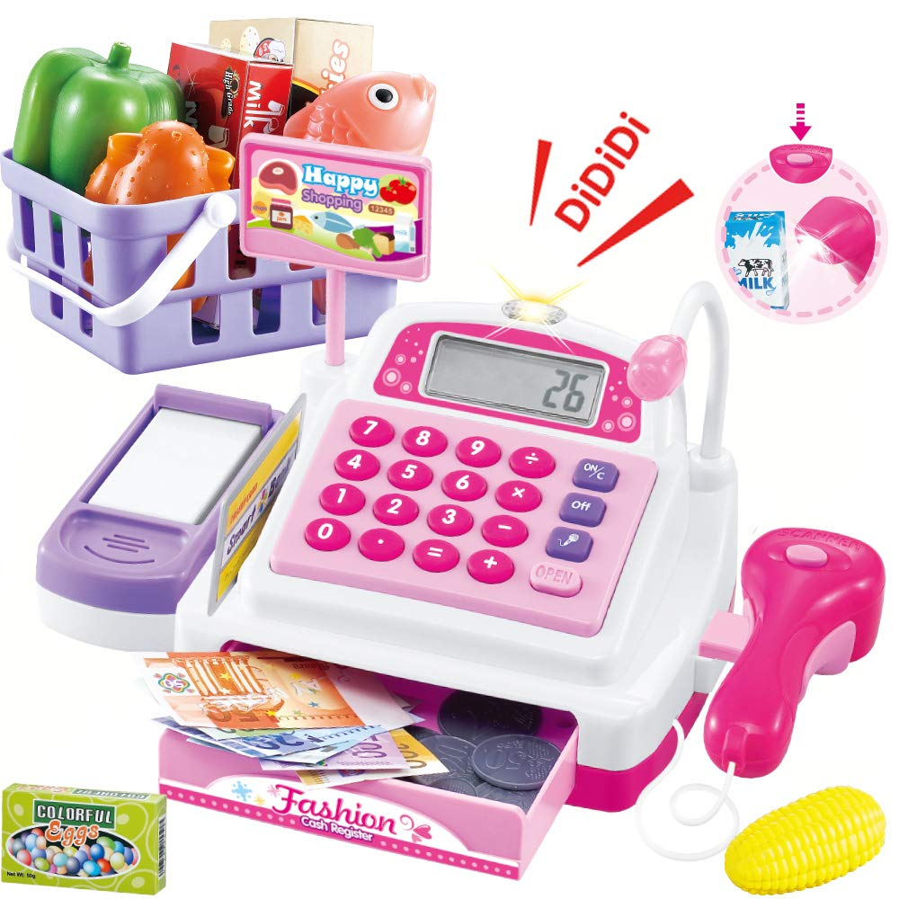 Sotodik Cash Register Pretend Play Supermarket Shop Toys with Calculator ,Working Scanner,Credit Card ,Play Food ,Money and More.(Color May Random)