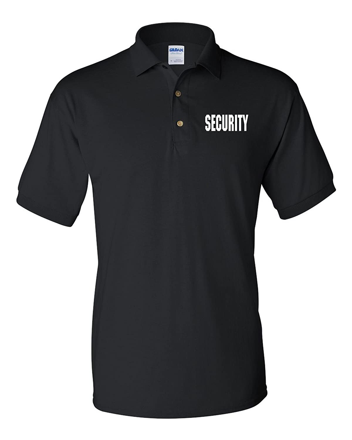 1588d370 Gildan Peerless Embroidery Security Silkscreen Front & Back Black Sport Polo  at Amazon Men's Clothing store: