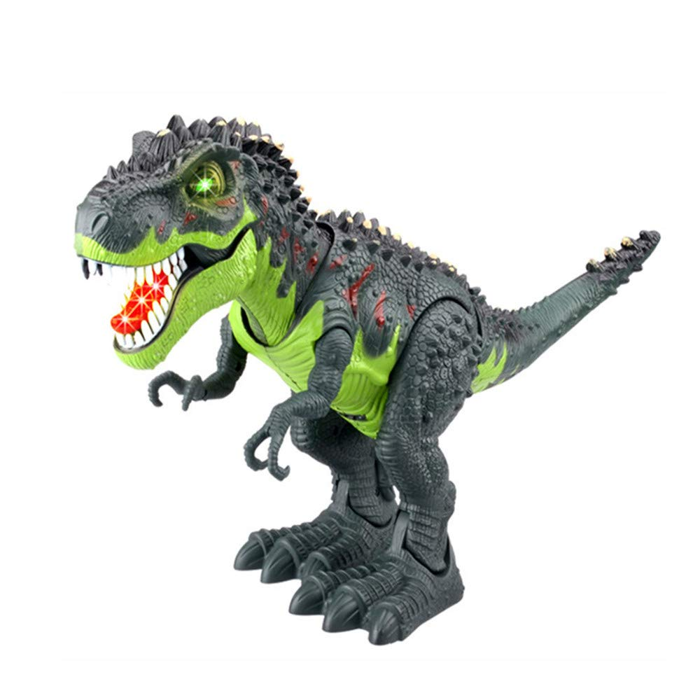 IAMUP Kids Toy Walking T-Rex Dinosaur Toy Figure with Lights & Sounds Real Children Movement Knowledege Toys Green