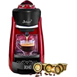 Bonhomia Boho Capsule Coffee Brewer Single Serve Espresso Machine (Red)