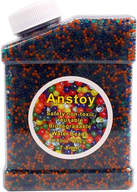 Water Beads 50000 Soft Beads Rainbow Mix Jelly Water Growing Balls for Kids Tactile Sensory Toys, Home Décoration and Vases, Plants, Wedding (Rainbow)