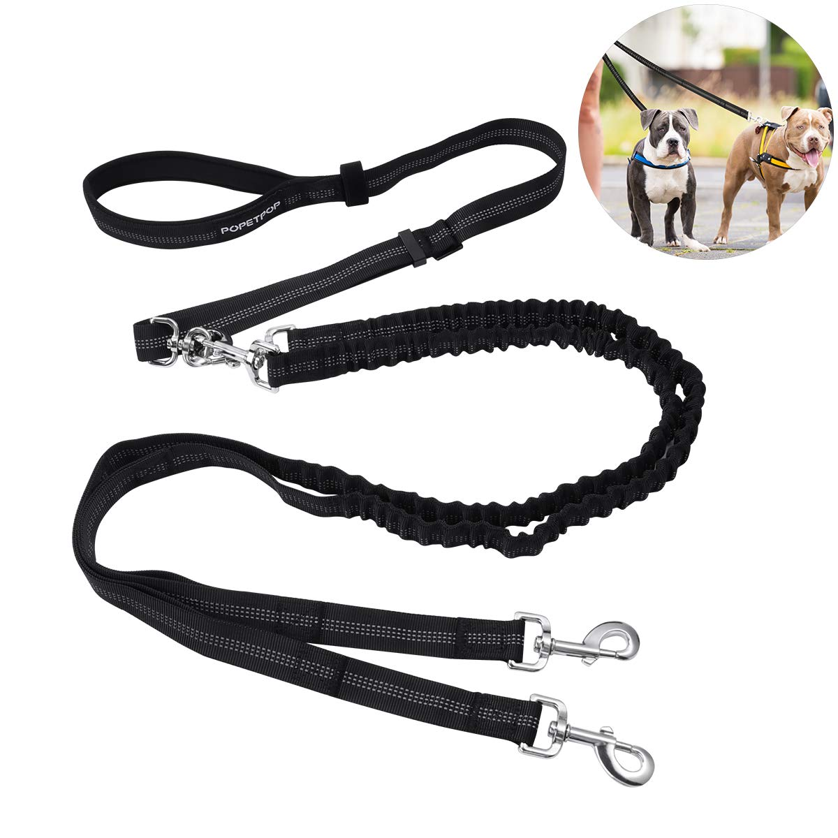 POPETPOP Double Dog Leash, 360° Swivel No Tangle Reflective Heavy Duty Dual Dog Leash with Soft Handle and Shock Absorbing Bungee for Medium/Large One or Two Dogs