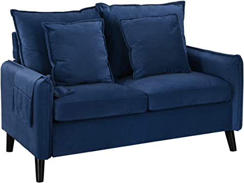 Modern Living Room Brush Microfiber Loveseat Sofa Navy
