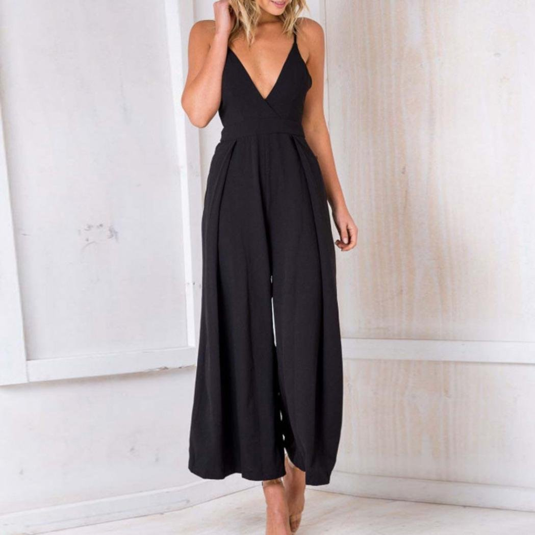 Sexy Playsuits,Women Party Deep V Backless Bowknot Jumpsuits Solid Wide Leg Loose Long Rompers (L, Black) by Leewos (Image #3)