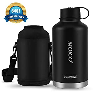 64 oz Stainless Steel Water Bottle, MOICO Double-Wall Vacuum Insulated Water Bottle, Keeps Cold 24 Hours & Hot 12 Hours, BPA Free Leak Proof Wide Mouth with Travel Bag - Black