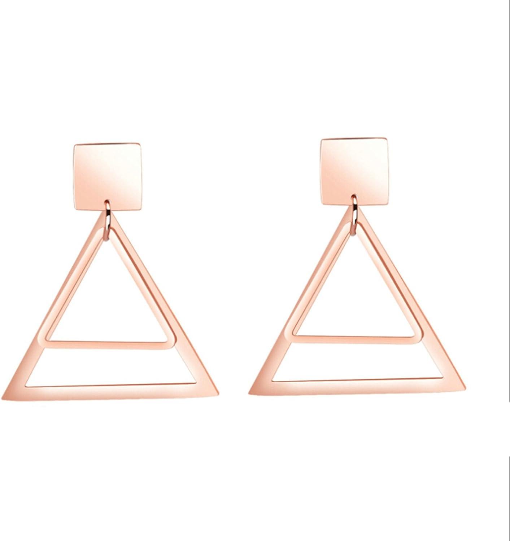 AnaZoz Pendientes Mujer Pendientes Acero Inoxidable Mujer Pendientes Dos Triángulo Hueco Pendientes Oro Rosa