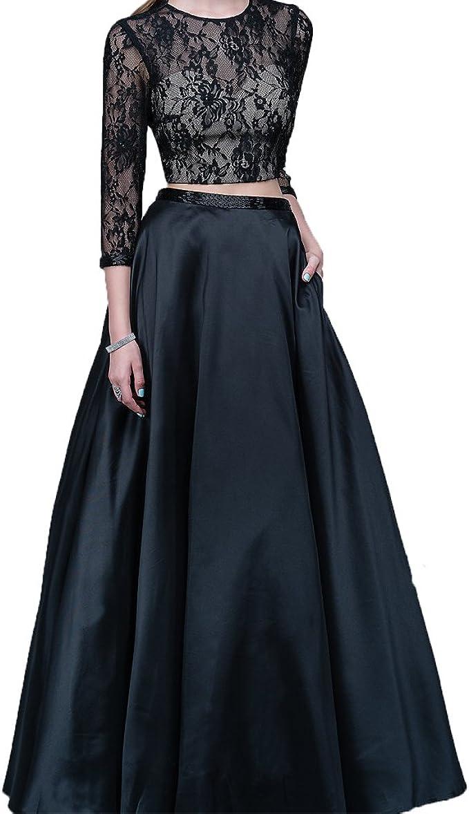 ShineGown Damen Zwei stück Schwarze biume Spitzen Cocktail Kleid