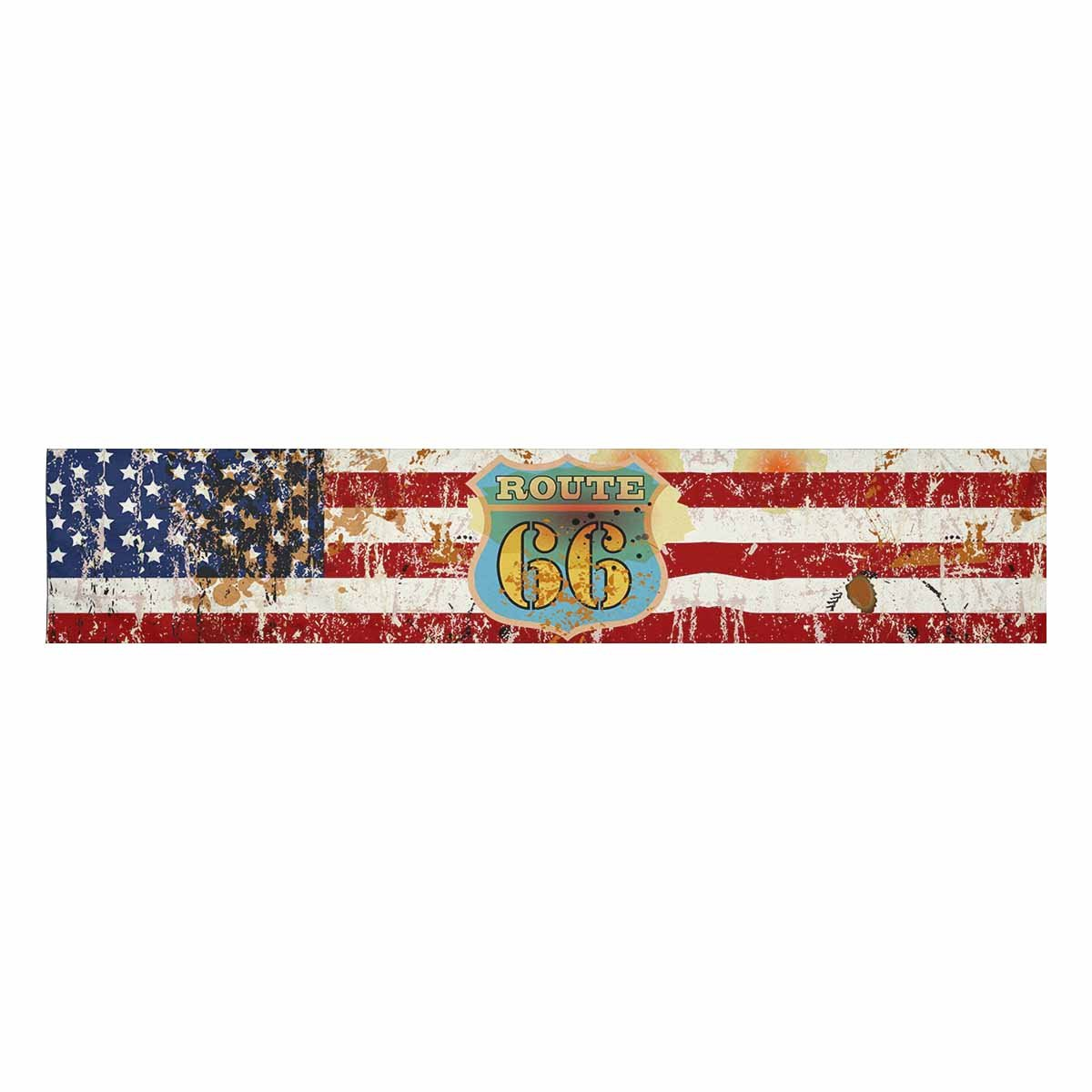 f8fd968bfda1 Amazon.com  InterestPrint Grungy Famous Route Road 66 on Vintage American Flag  Table Runner Cotton Linen Cloth Placemat Home Decor for Home Kitchen Dining  ...