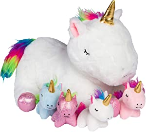 PixieCrush Unicorn Stuffed Animals for Girls Ages 3 4 5 6 7 8 Years; Stuffed Mommy Unicorn with 4 Baby Unicorns in her Tummy; Toy Unicorn Pillows for Girls