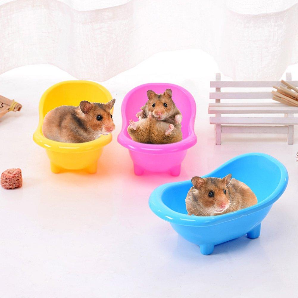 Petit Animal de salle de bain baignoire pour animal domestique, gerbilles Rat souris Hamster sauna Baignoire, WC en plastique Animal de petite taille de salle de bain salle de bain Sable sauna Toilettes Baignoire (1pc, couleur aléatoire Livraison) Hete-sup