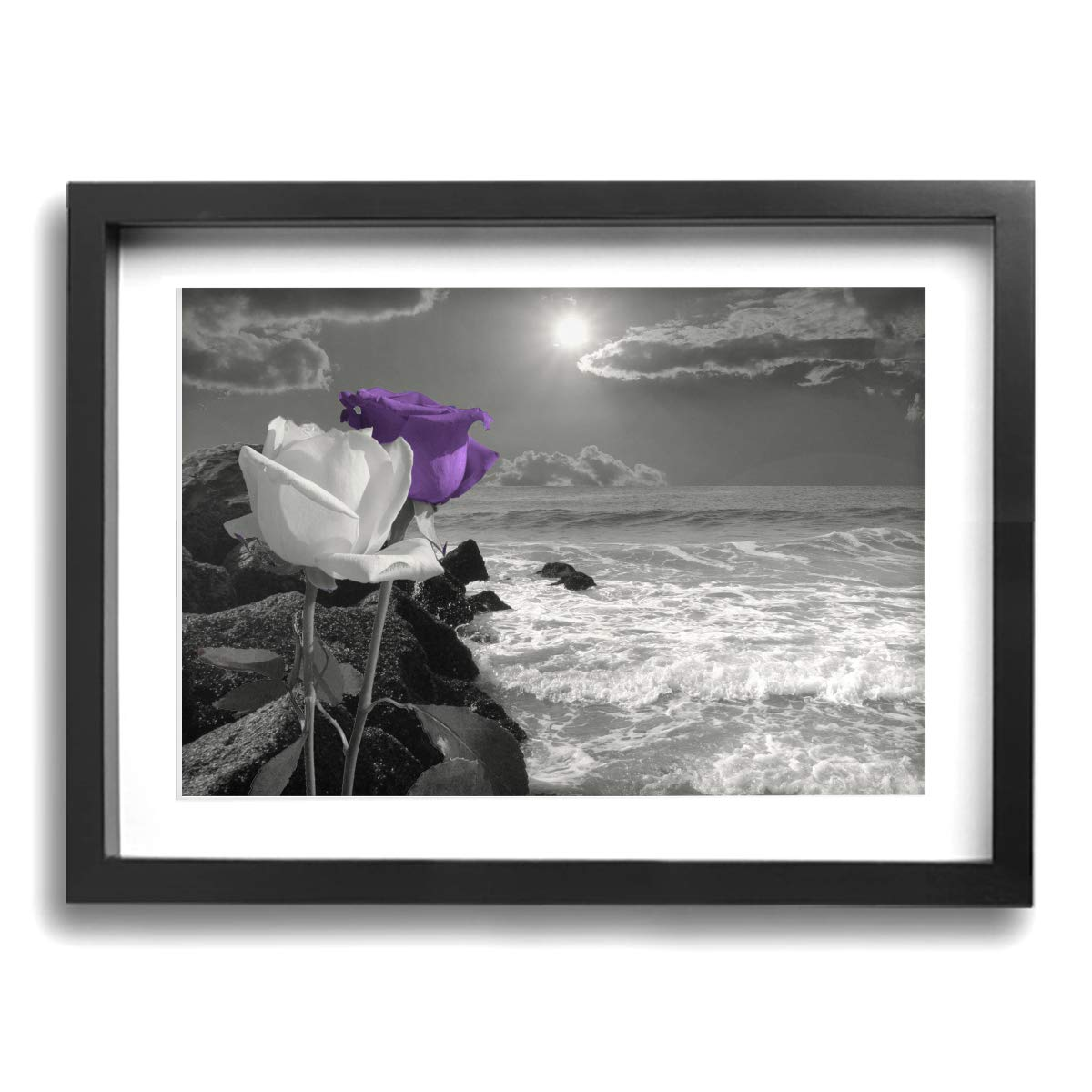 Amazon com treeww black white purple rose flower coastal ocean beach canvas wall art poster prints ready to hang 16 x 12 posters prints