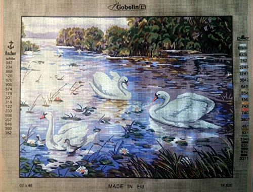 SWANS IN THE RIVER NEEDLEPOINT CANVAS FROM GOBELIN #14.820 NEEDLEPOINT CANVAS ONLY, NOT A KIT