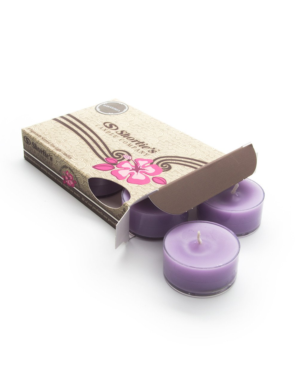 Pure Wisteria Tealight Candles Highly Scented - Made With Essential & Natural Oils - Purple Tea-Light Candles 6-Pack - Floral Tea Lights Collection Shortie's Candle Company AX-AY-ABHI-18333