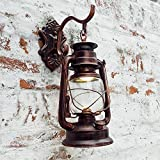 NOCHX Vintage Retro E27 Edison Industrial Barn Lantern Metal Glass Wall Lights Lamps Shades Iron Kerosene Wall Sconces Fixtures for Aisle Balcony Stairs Bedroom Cafe Bar Indoor Antique Brass Copper