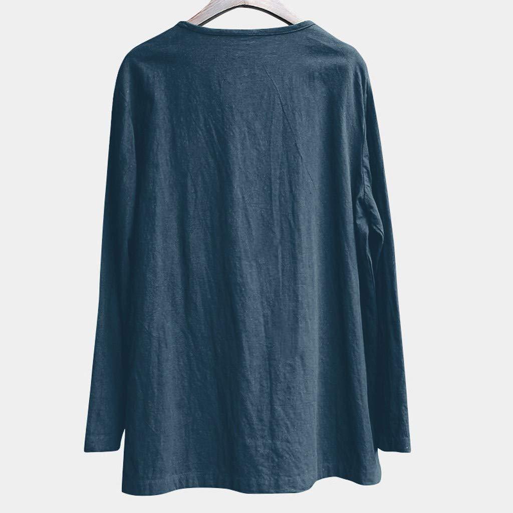 LEEDY/_T-shirts Grande Taille /à Manches Longues en Coton pour Hommes d/écontract/é /à Manches Longues Respirant Confortable de Couleur Unie