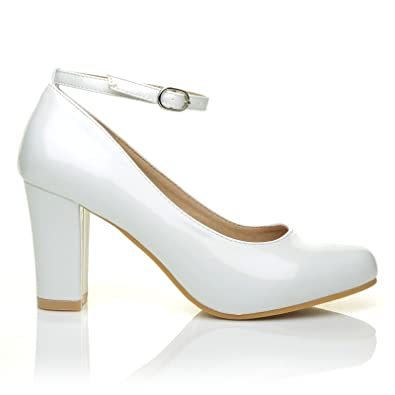 64b88e0eb362 Zara White Patent Block Heel Ankle Strap Round Toe Court Shoes   Amazon.co.uk  Shoes   Bags