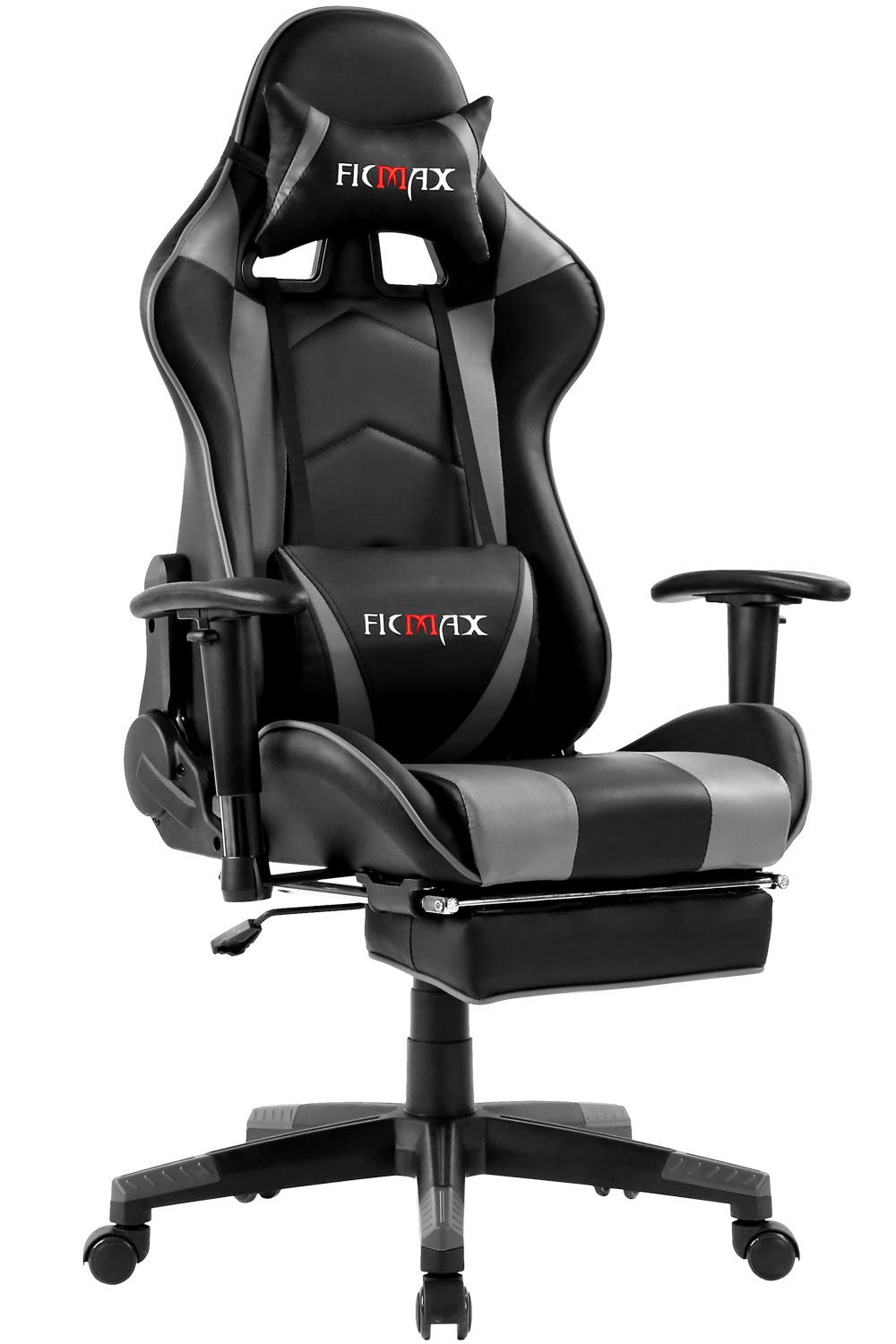 Ficmax Ergonomic Gaming Chair Massage Computer Gaming Chair Reclining Racing Office Chair with Footrest Pro Gamer E-Sport Chair High Back Gaming Desk Chair with Headrest and Lumbar Support(Black/Gray) by Ficmax