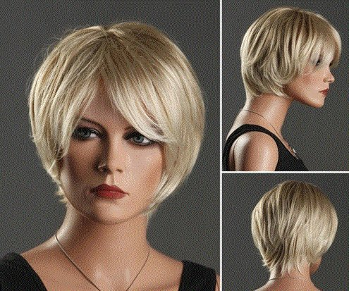 [Women's Short Bouffant Straight Hair Wig with Sided-Swept Bangs (Golden) by Ozone48] (Red Bouffant Wig)